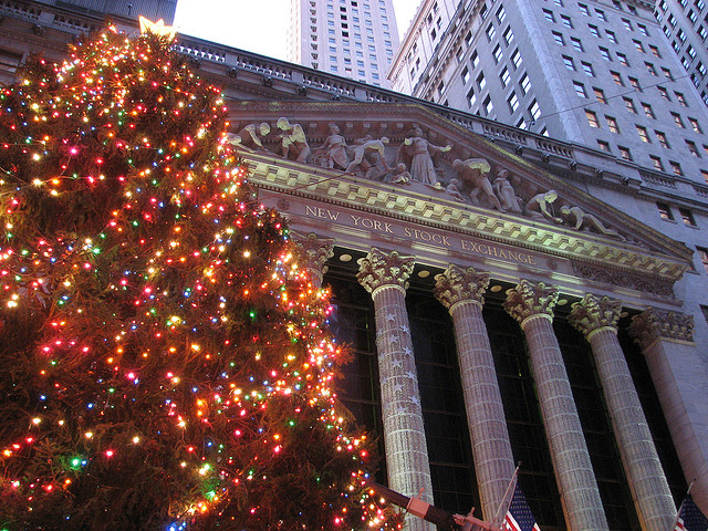 Christmas at the New York Stock Exchange. Photo courtesy Michael Daddino via Flickr.