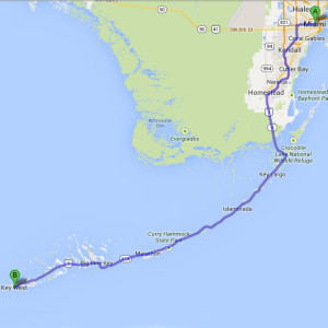 The route from Miami to Key West.