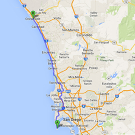The route from San Diego to Oceanside.