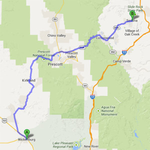 The route from Wickenburg to Sedona, Arizona.