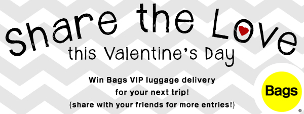 Enter to win Bags VIP luggage delivery (a great alternative to shipping luggage or shipping golf clubs) for your next trip.