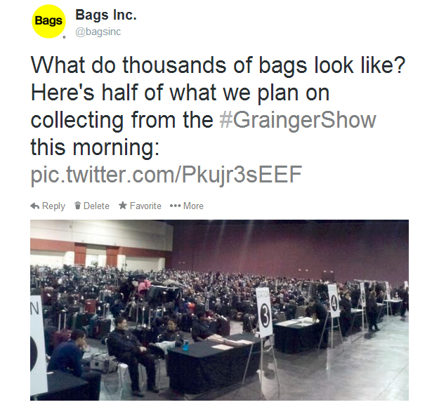 Bags Inc. offered Grainger Show attendees a great alternative to shipping luggage - remote airline check-in and Bags VIP luggage delivery service.