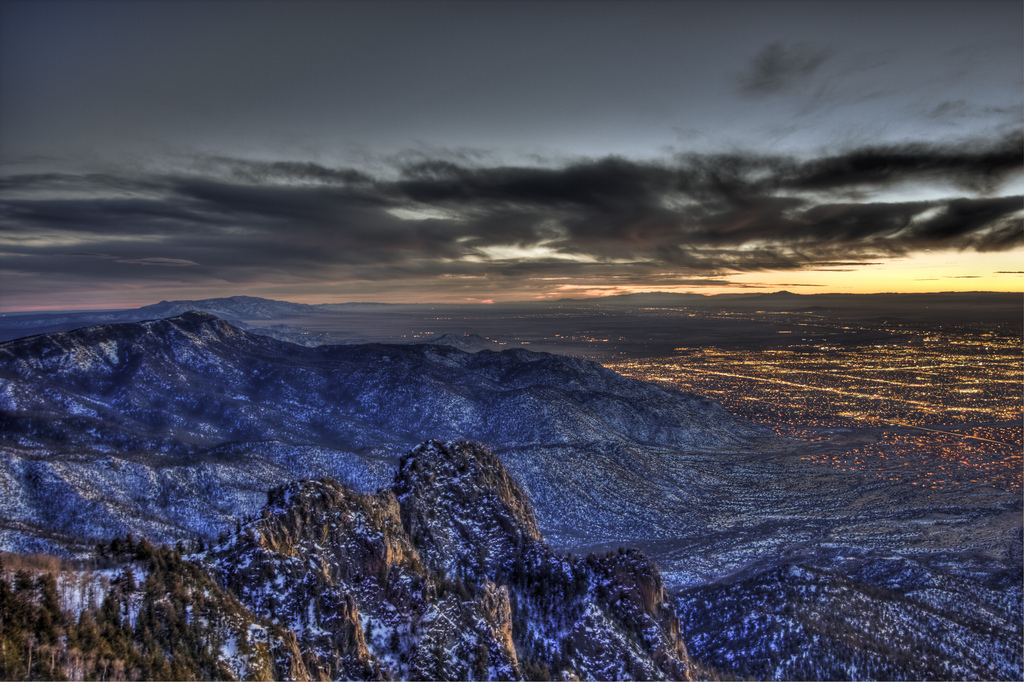 Forget your excess baggage when you watch the sunset over Albuquerque from the Sandia Mountains.