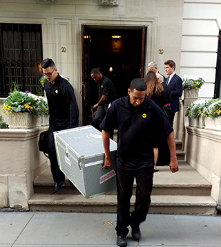 Bags delivered luggage and trip-related items for Pope Francis and his traveling party during his September 22-27 visit to Washington, DC and New York City.