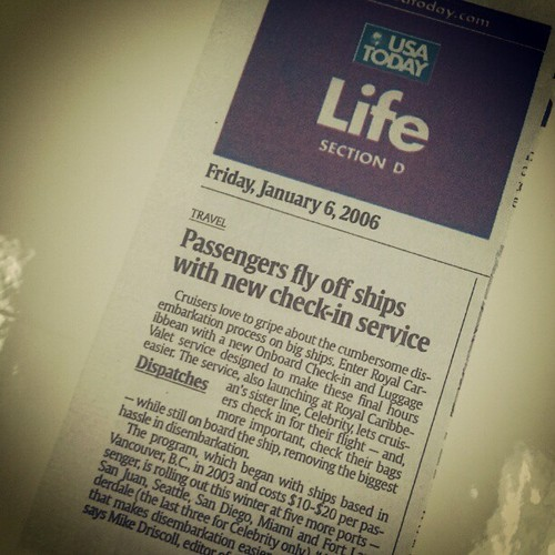 Photo of a USA Today newspaper article about the launch of Bags Onboard Check-In and Luggage Valet service