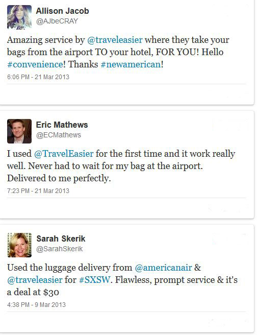Twitter Feedback for Bags VIP luggage delivery